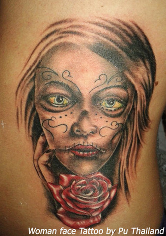 Woman Face Tattoo by Pu Thailand