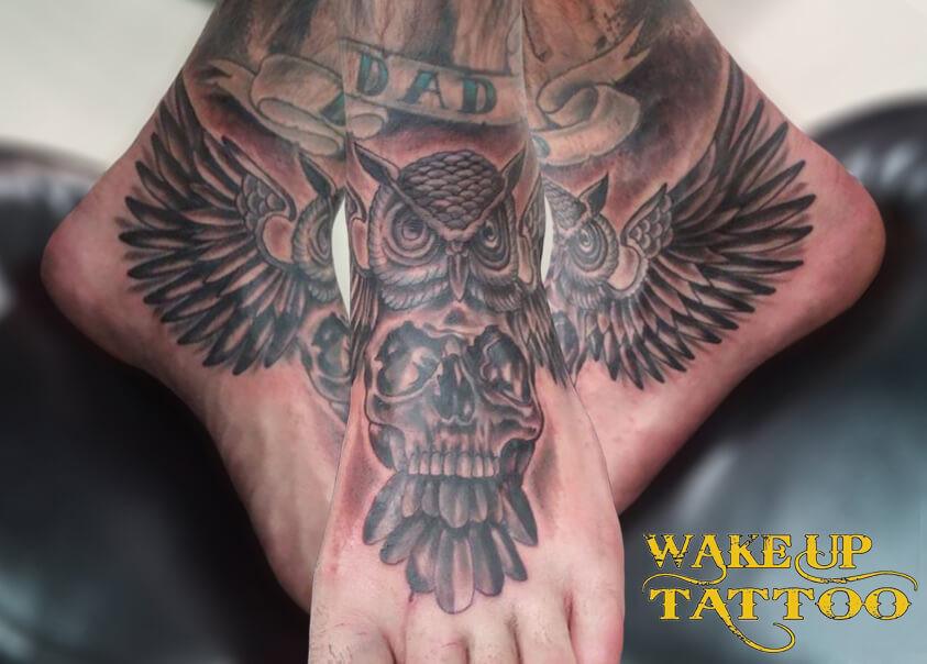 Owl Instep Tattoo by Wake up Tattoo