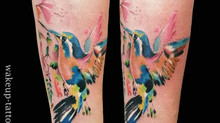 Watercolor Bird Tattoo by Wake up Tattoo Phuket