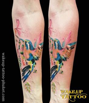 Watercolor Bird Tattoo by Wake up Tattoo Phuket
