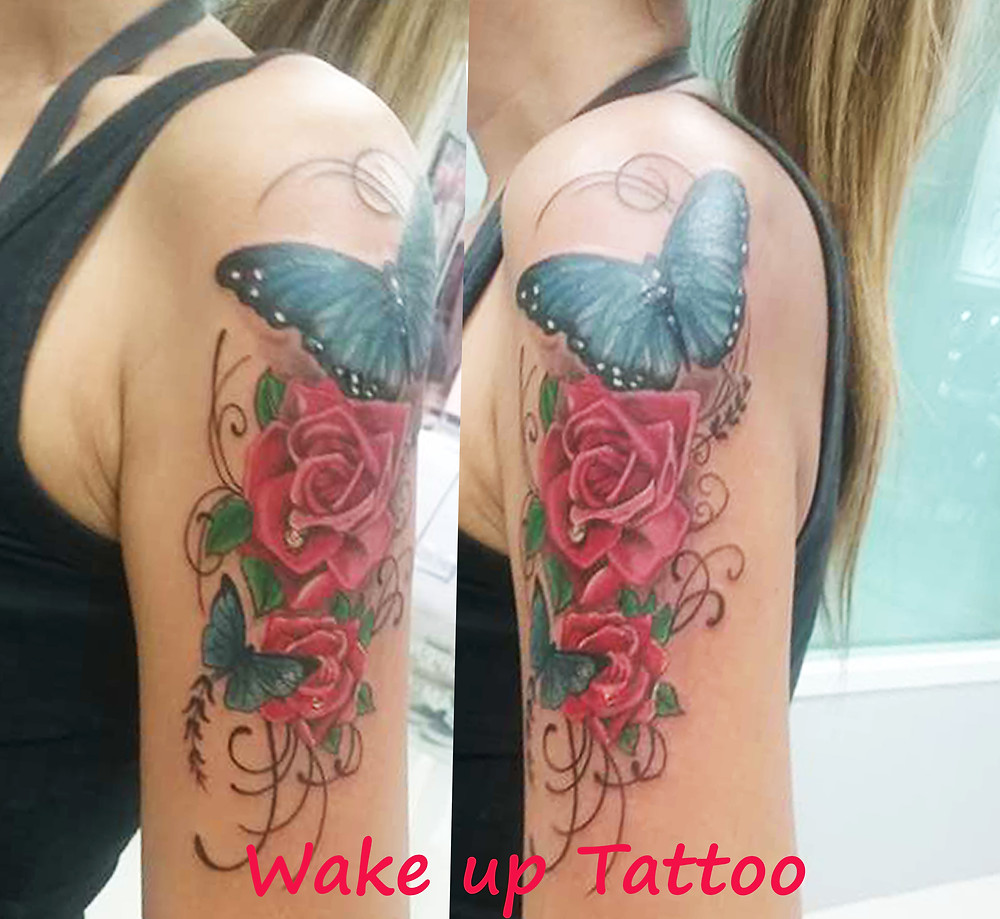 Rose & Butterfly tattoo by Wake up Tattoo in Phuket Patong
