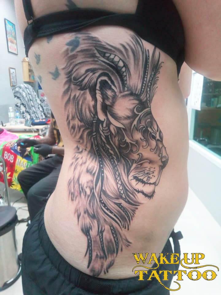 Lion Tattoo by Wake up Tattoo Phuket