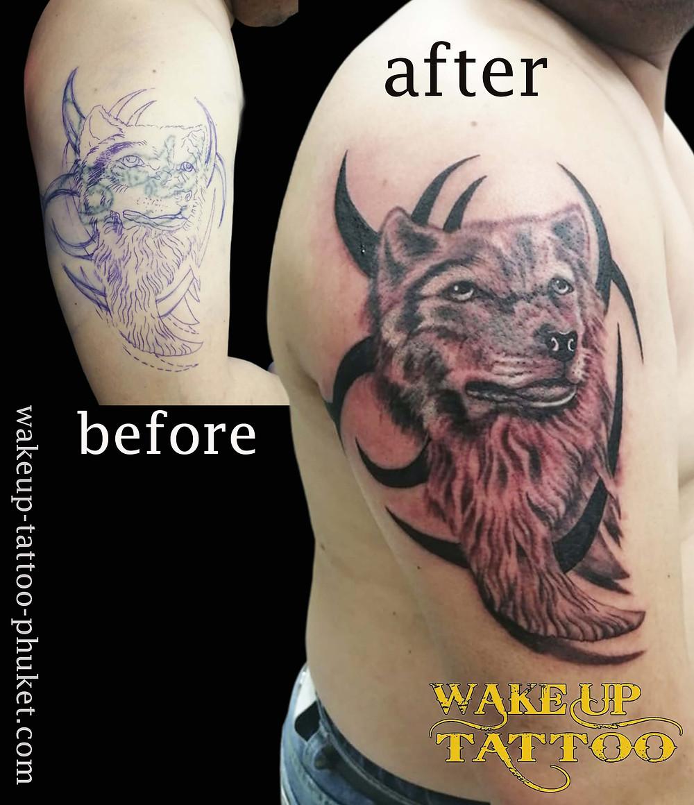 Cover up Wolf Tattoo by Wake up Tattoo Phuket