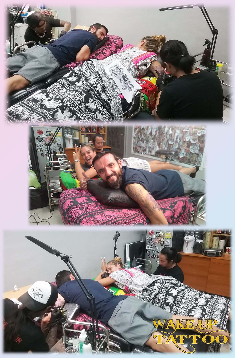 Enjoy tattoo time by Wake up Tattoo Phuket in Patong