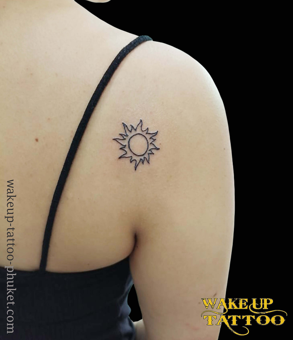 Tiny Sun simple tattoo by Wake up Tattoo Phuket