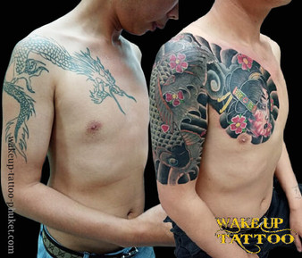 Japanese old style tattoo by Wake up Tattoo Phuket