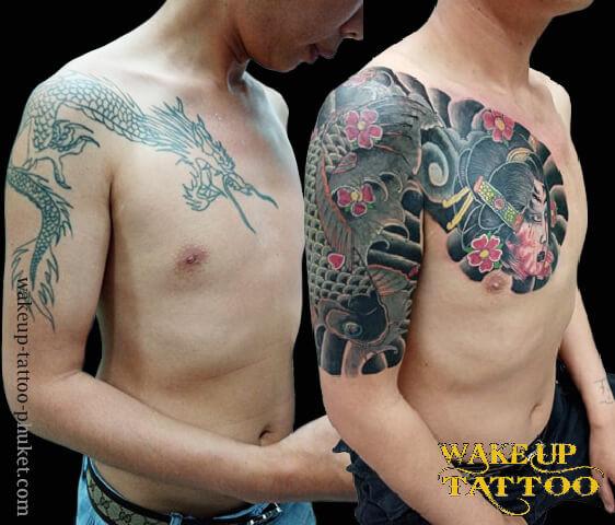 Japanese old style tattoo by Wake up Tattoo Phuket