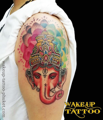 Colorful Lord Ganesha Tattoo by Wake up Tattoo Phuket