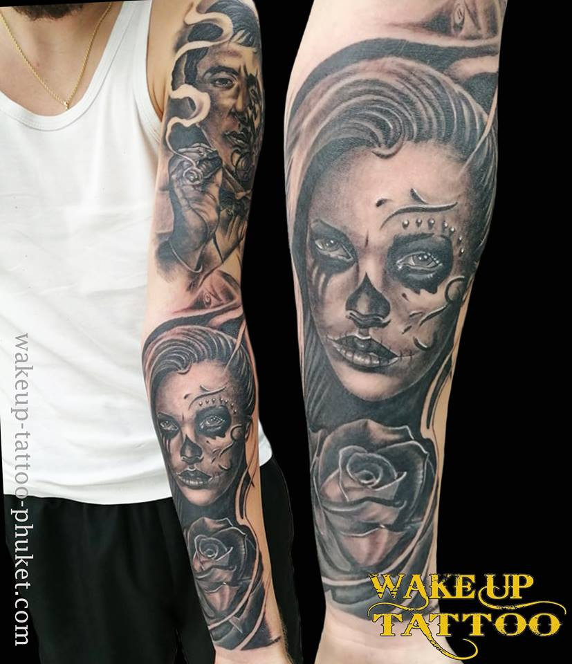 Day of the dead sleeve tattoo by Wake up Tattoo Phuket