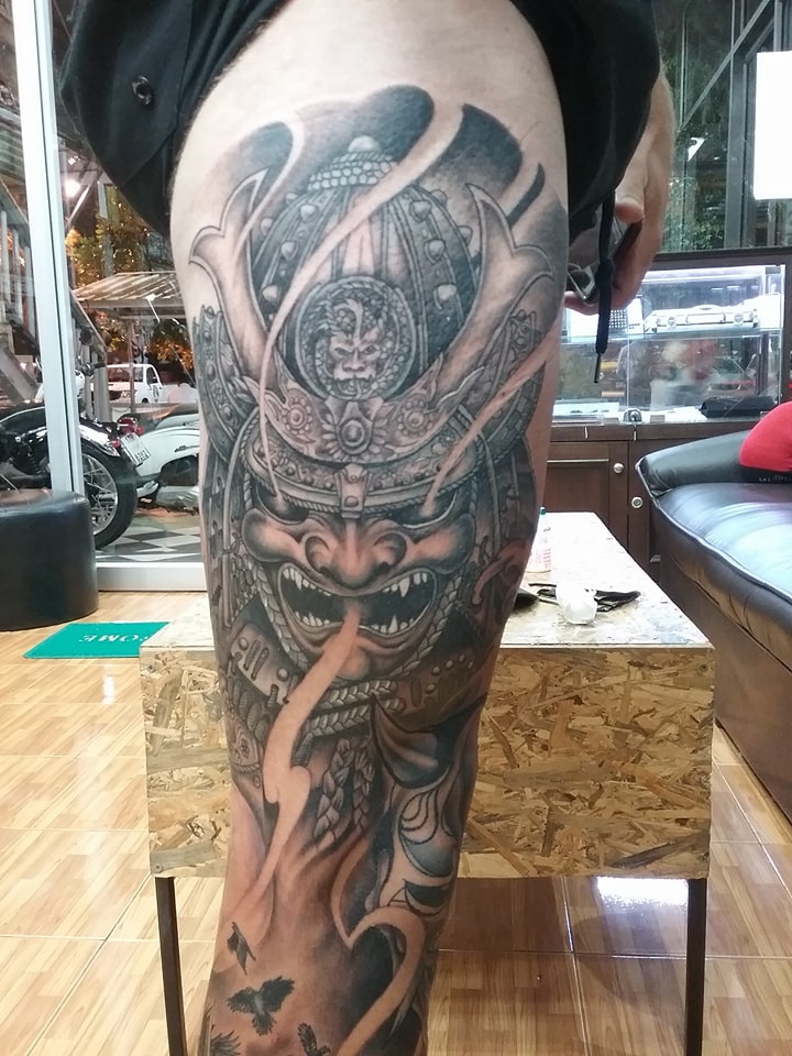Samurai tattoo by Wake up Tattoo Phuket at Patong Beach