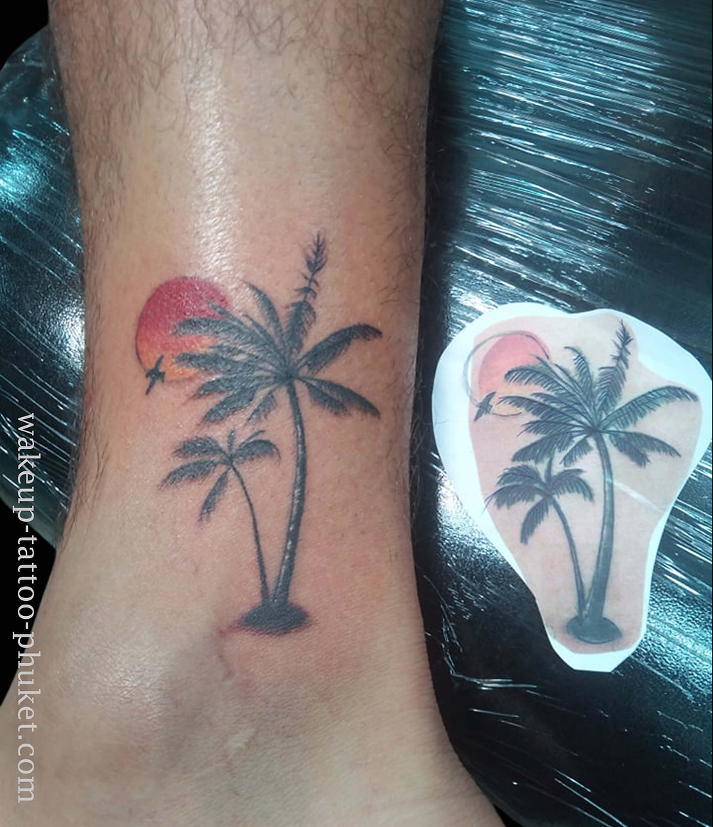 Palm Tree & Sun Set Tattoo by Wake up Tattoo Phuket