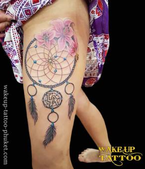 Dream catcher and Flower tattoo by Wake up Tattoo Phuket