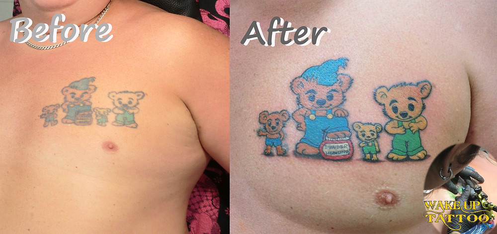 Re-make tattoo by Wake up Tattoo Phuket at Patong Beach