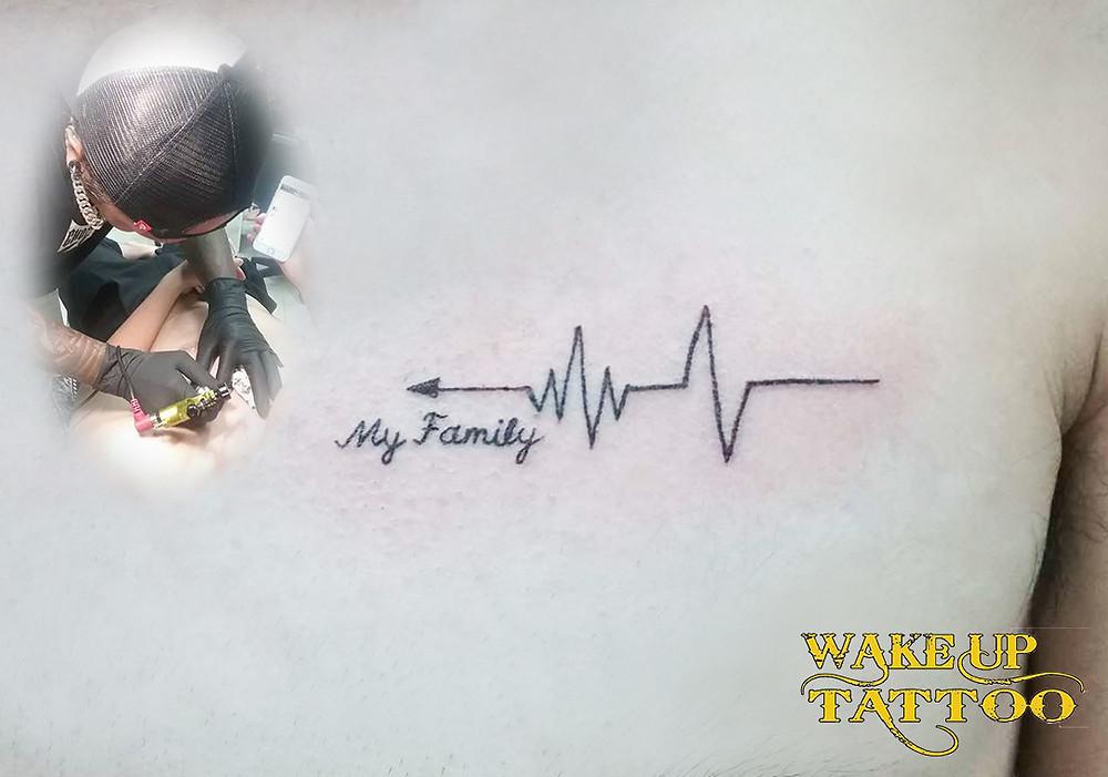 heart beat tattoo by Wake up Tattoo Phuket