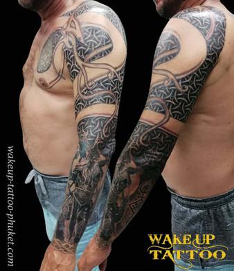 Geometric sleeve tattoo by Wake up Tattoo Phuket