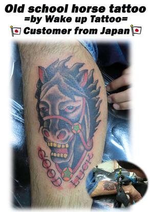 Old school horse tattoo by Wake up Tattoo Phuket