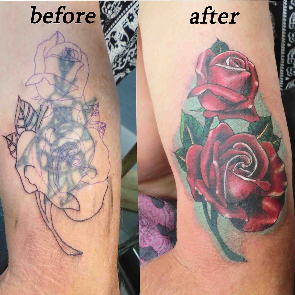 Cover up Rose Tattoo by Wake up Tattoo