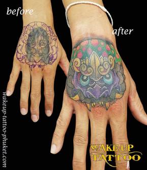 Thai Dragon cover up tattoo by Wake up Tattoo Phuket