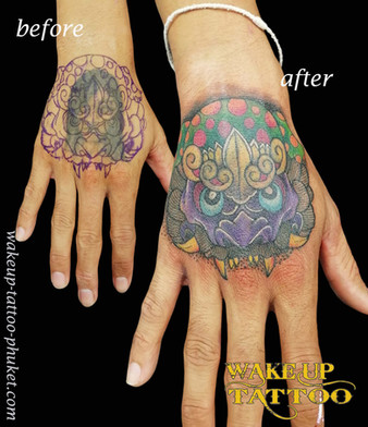Cover up Tattoo on the hand by Wake up Tattoo Phuket