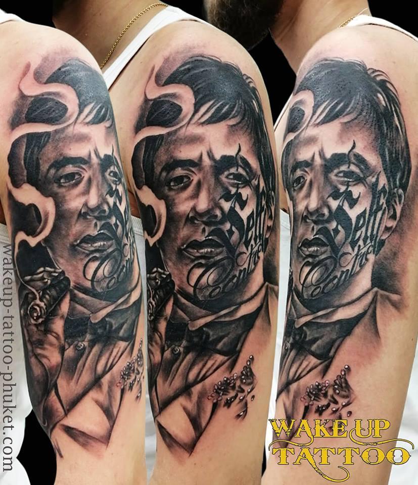 Realism Face tattoo by Wake up Tattoo Phuket