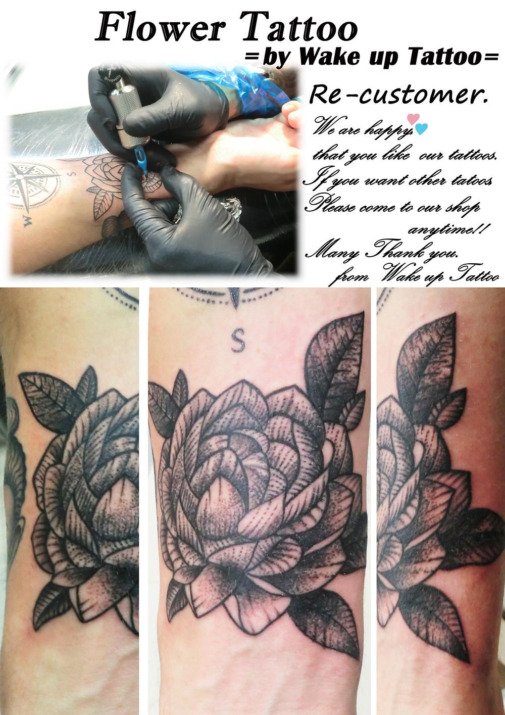 flower tattoo by Wake up Tattoo Phuket