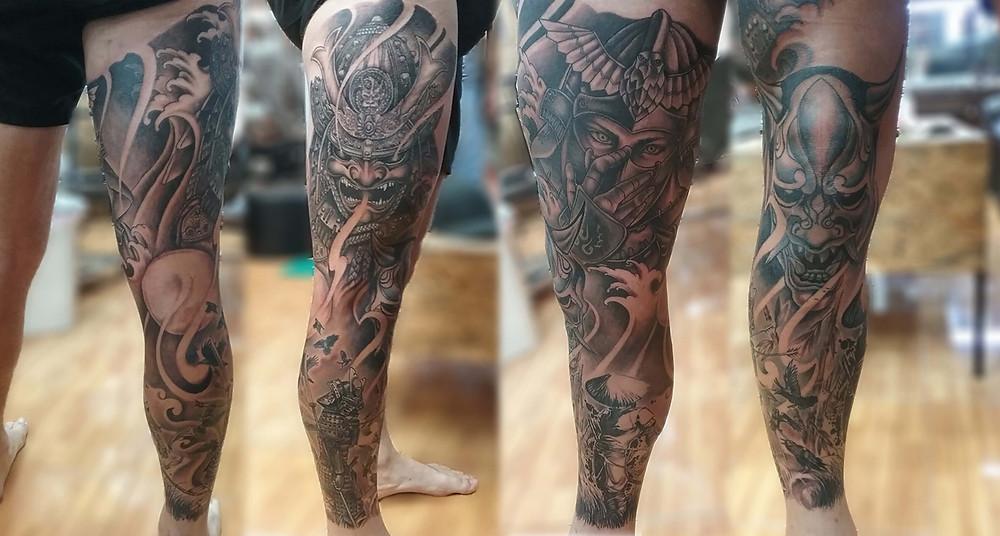 Full leg sleeve tattoo by Wake up Tattoo Phuket