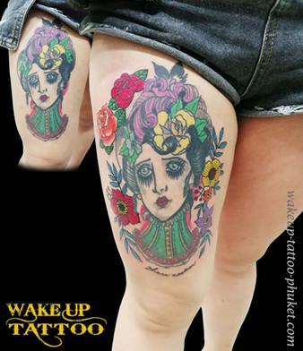 add on to her tattoo by Wake up Tattoo Phuket