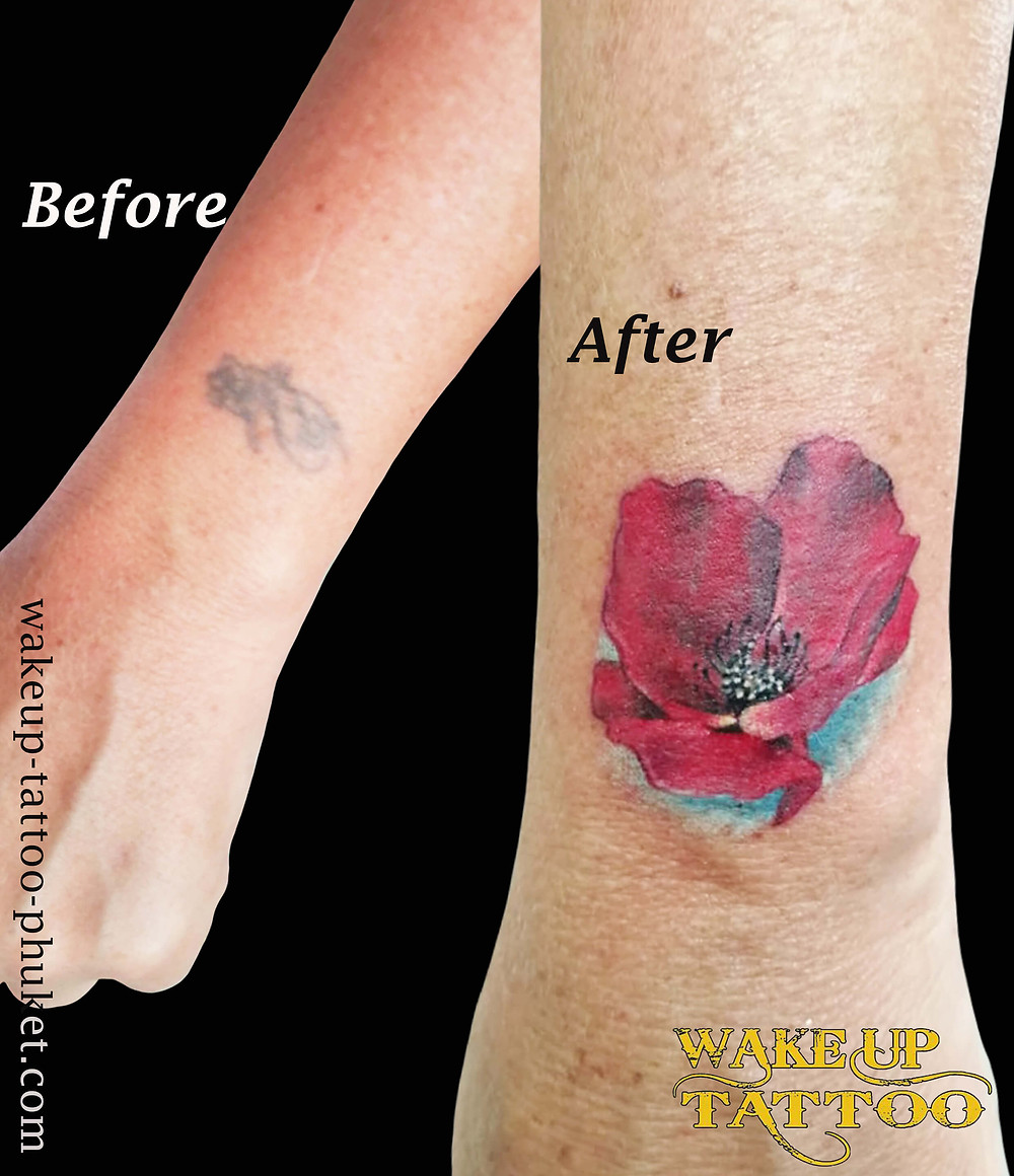 Cover up Flower Tattoo by Wake up Tattoo Phuket