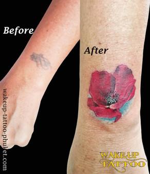 Cover up Flower Tattoo by Wake up Tattoo Phuket