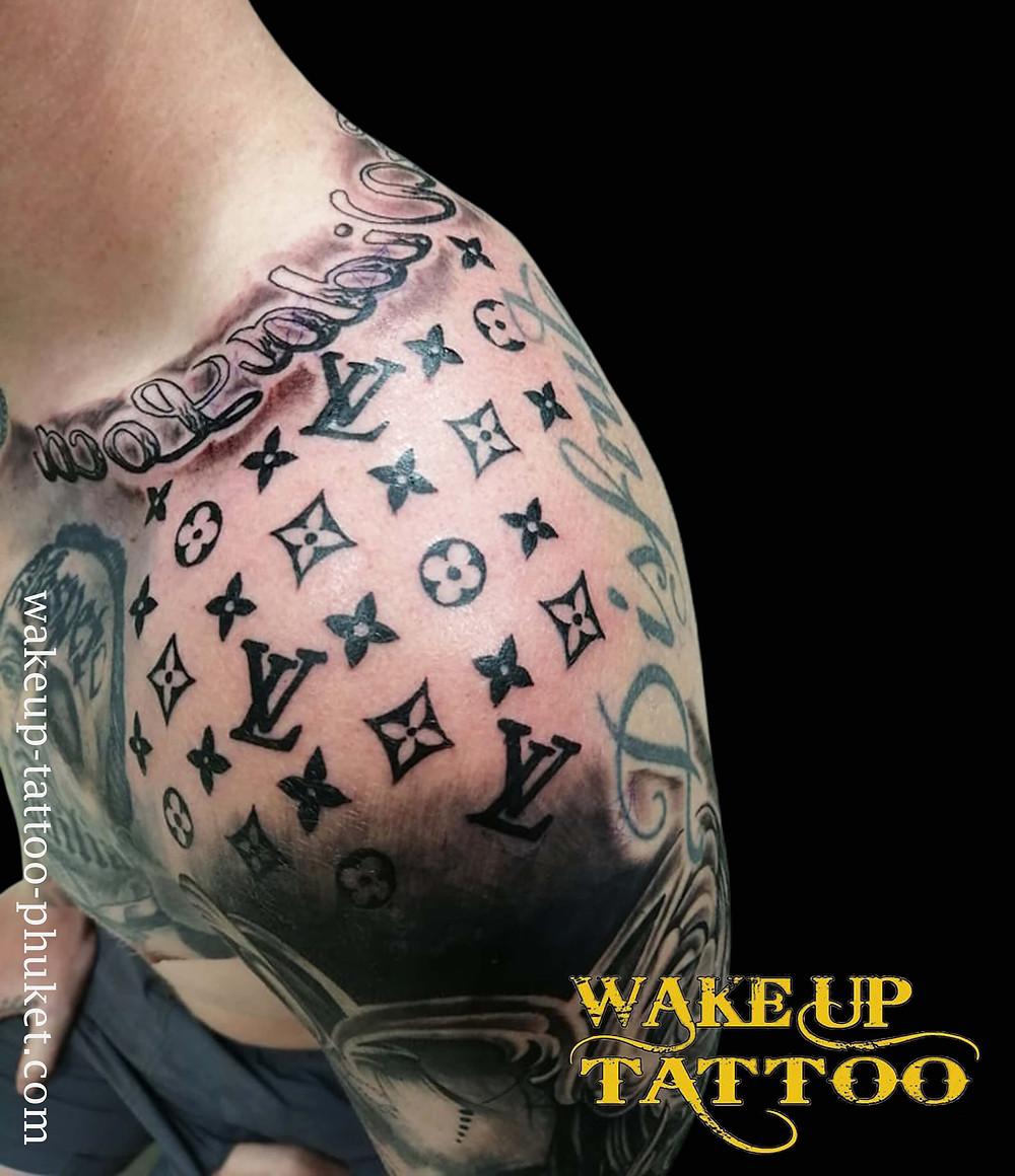 Louis Vuitton Logo Tattoo by Wake up Tattoo Phuket