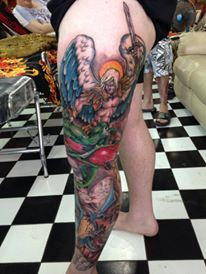 Leg tattoo by Wake up Tattoo Phuket at Patong beach Phuket Thailand