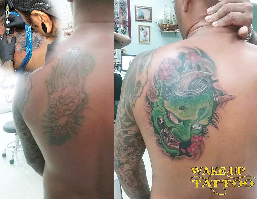 Hannya cover up tattoo by Wake up Tattoo Phuket