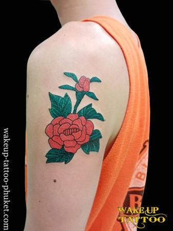 camellia tattoo by Wake up Tattoo Phuket