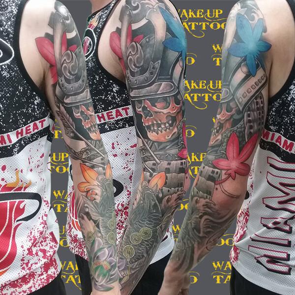 Japanese Skull Full sleeve Tattoo by Wake up Tattoo