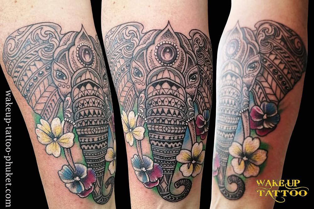 Elephant Mandala Tattoo by Wake up Tattoo Phuket