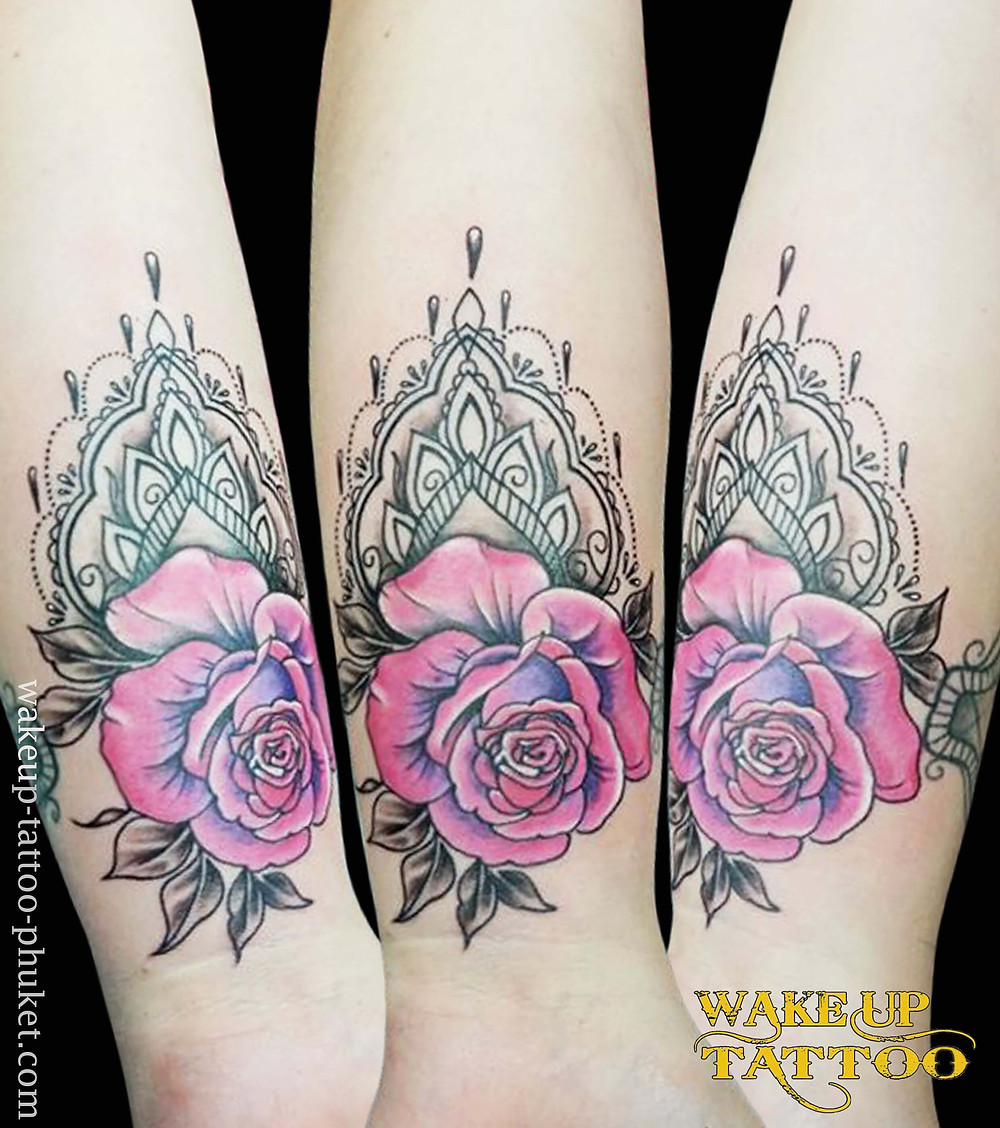 Mandala with Rose tattoo by Wake up Tattoo Phuket