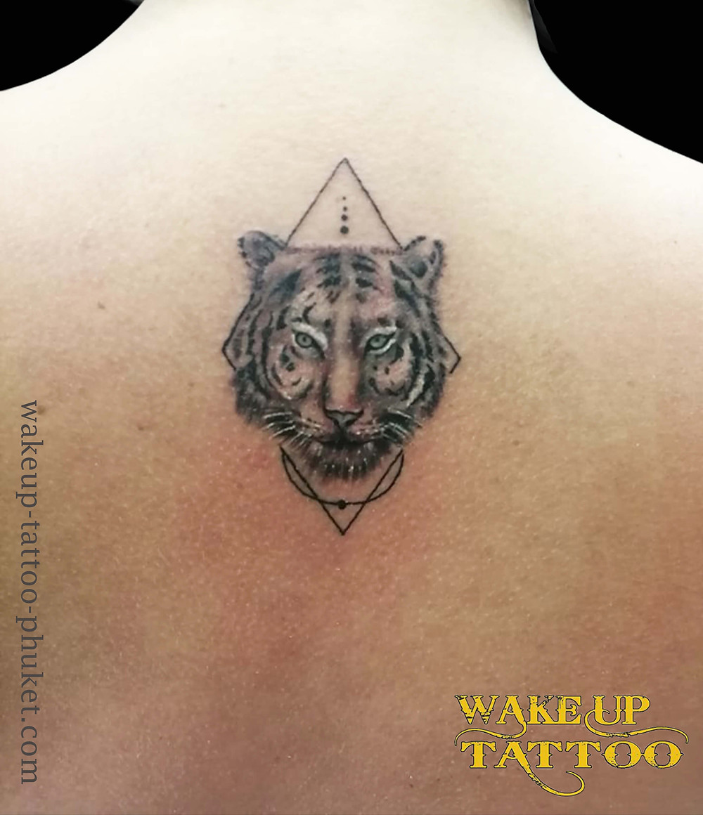 Geometric tiger tattoo by Wake up Tattoo Phuket