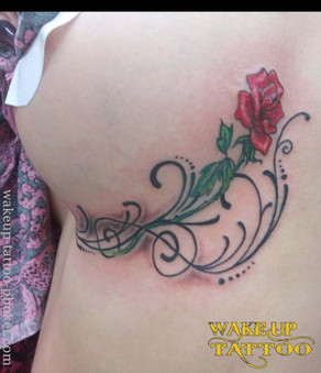 Sexy Chest side tattoo Rose tattoo by Wake up Tattoo Phuket