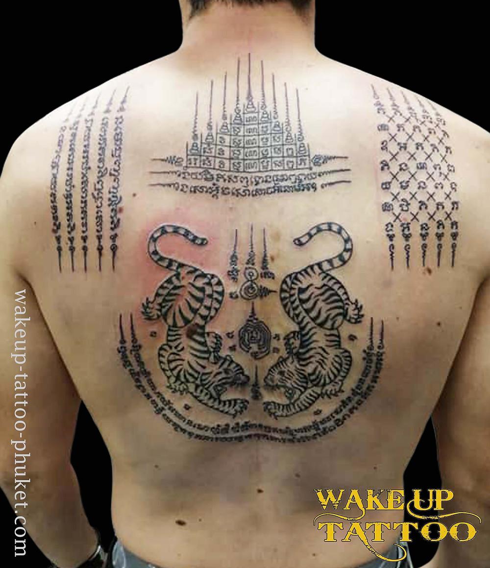 Sak Yant Big Tattoo on the back by Wake up Tattoo Phuket
