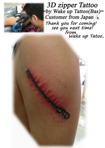 3D zipper Tattoo by Wake up Tattoo Phuket