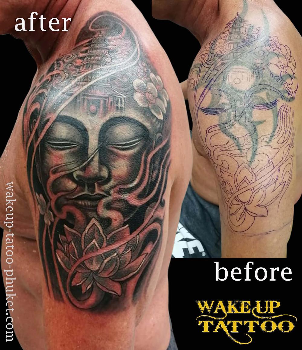Buddha and Lotus flower cover up tattoo by Wake up Tattoo Phuket