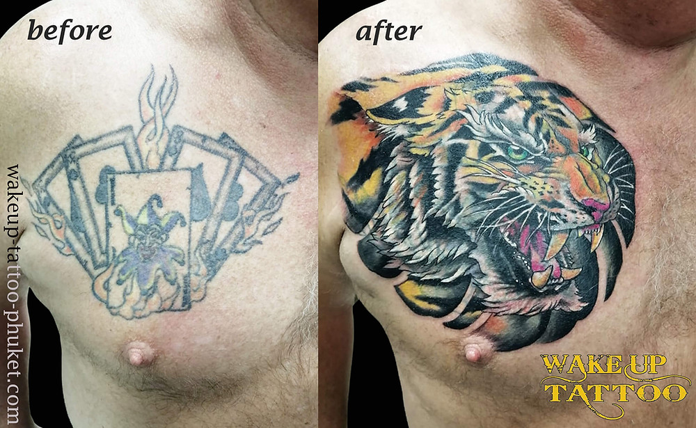 Cover Up Tiger tattoo on the chest by Wake up Tattoo Phuket