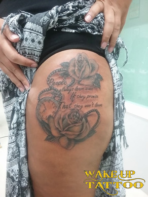 Rose and lettering Tattoo in Patong Tattoo Studio at Wake up Tattoo