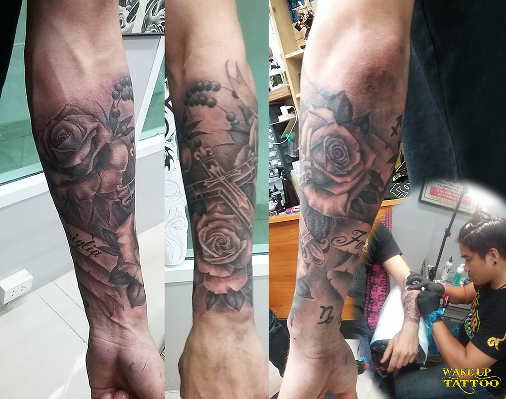 Rose tattoo by Wake up Tattoo Phuket at Patong Beach