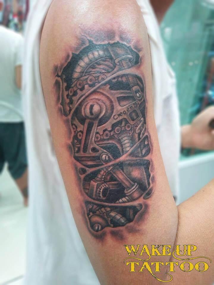Machine 3D Tattoo by Wake up Tattoo Phuket