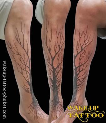 Big Tree Leg Tattoo by Wake up Tattoo Phuket