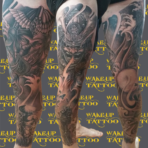Japanese Full Leg Sleeve Tattoo at Wake up Tattoo