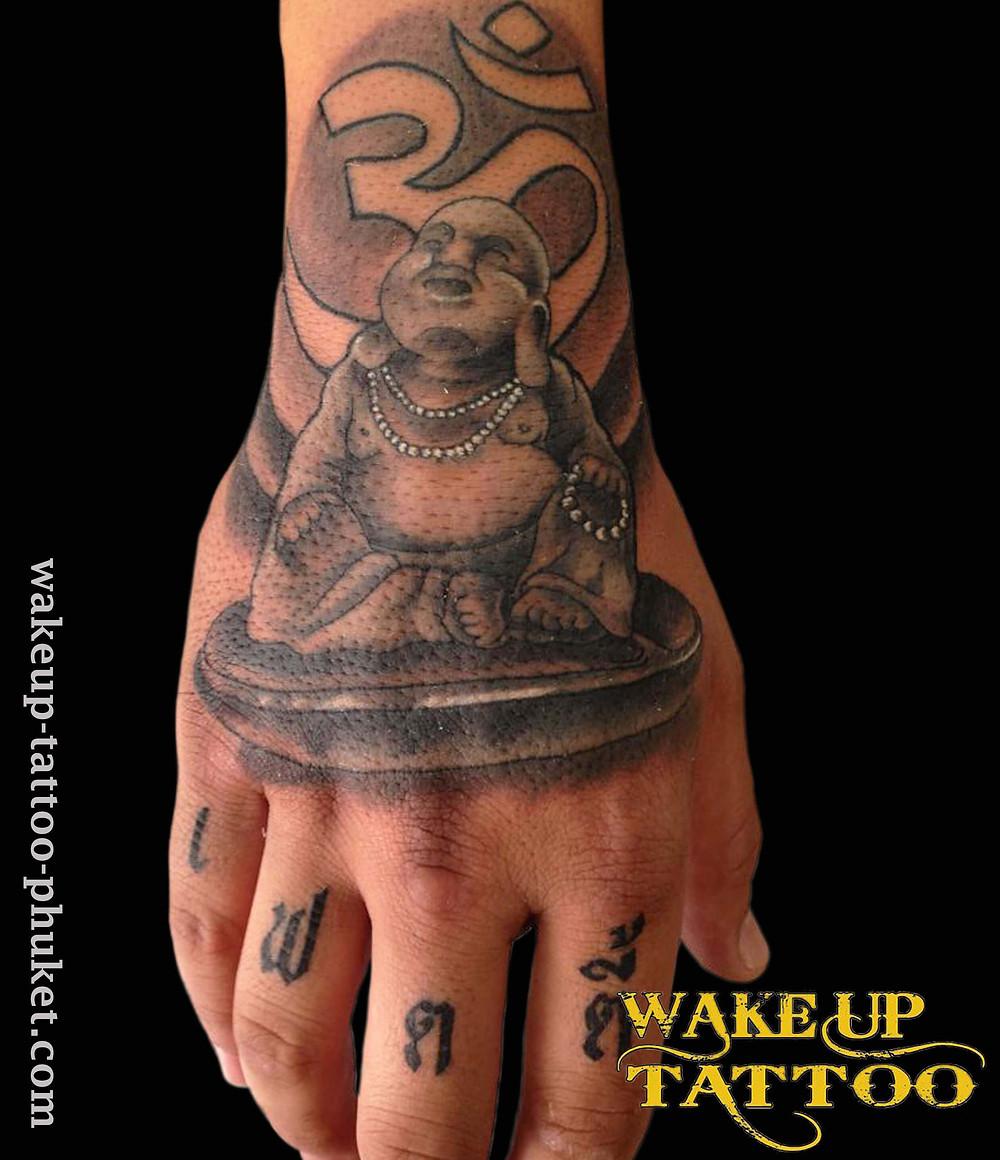 Laughing Buddha tattoo by Wake up Tattoo Phuket