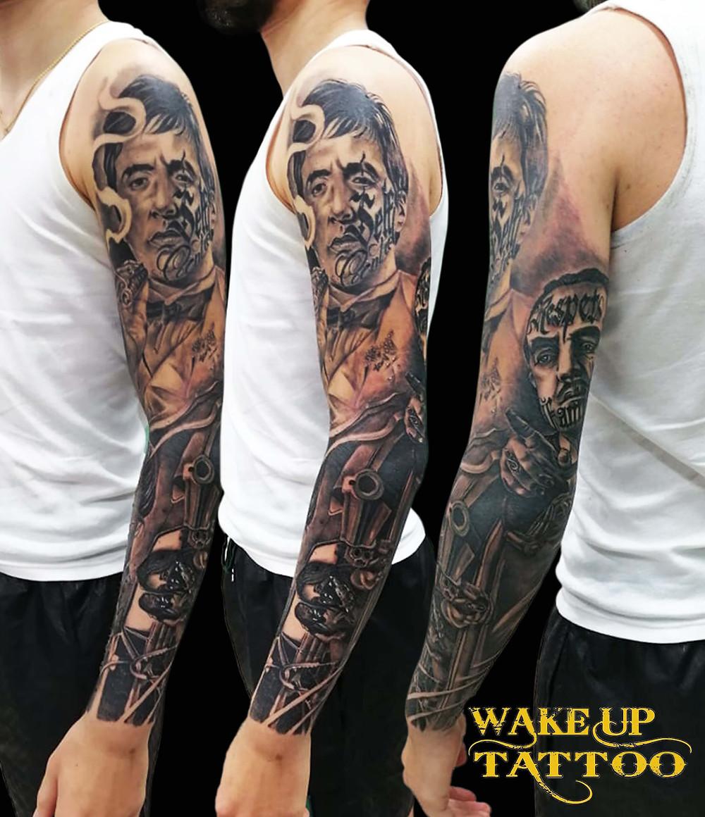 Gang style Full Sleeve Tattoo by Wake up Tattoo Phuket