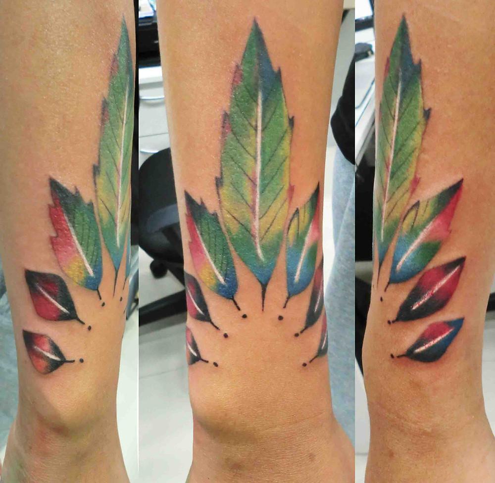 Color leaf tattoo by Wake up Tattoo Phuket